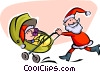 Vector Clip Art graphic  of a Santa pushing carriage