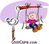 Vector Clip Art graphic  of a Stork with baby swinging from