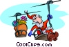 Vector Clipart picture  of a Christmas/Santa on chairlift