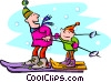 Parent and child skiing Vector Clip Art image