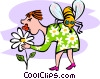 Vector Clip Art image  of a smelling the flowers