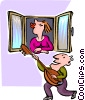 Vector Clip Art image  of a serenading a loved one