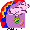Circus/elephant performing trick Vector Clip Art picture