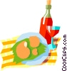 wine and shrimp Vector Clip Art graphic