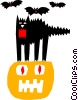 Halloween/black cat/pumpkin Vector Clipart picture