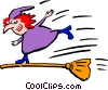 Halloween/witch on a broom Vector Clip Art image