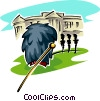 Vector Clip Art graphic  of a changing of the guard