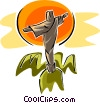 crucifix on mountain Vector Clipart image