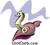 Vector Clipart image  of a seahorse with shell design