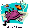 aquatic design with manta ray Vector Clipart picture