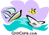 shark with sailboat Vector Clip Art picture