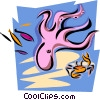 aquatic design with octopus Vector Clip Art image