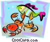 aquatic design with fish and crabs Vector Clip Art image