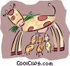 mother cow nursing calves Vector Clipart picture