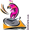 Vector Clip Art picture  of a turntable with parrot