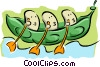 Vector Clipart graphic  of a three little peas in a pod rowing