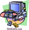 Vector Clipart image  of a Video and stereo equipment