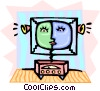 Vector Clipart graphic  of a futuristic television