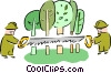 Vector Clip Art graphic  of a forestry workers