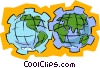 Vector Clip Art picture  of a world globes as gears