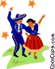 Mexican dancers Vector Clipart illustration