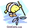 Vector Clip Art picture  of a Inuit ice-fisher