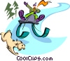 Vector Clip Art graphic  of a boy sliding with toboggan and