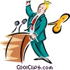 man at podium with a crank key - cartoon Vector Clipart image