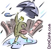 Vector Clip Art image  of a man with umbrella in the rain