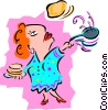 Vector Clipart image  of a woman flipping pancakes -