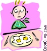 boy with breakfast eggs - cartoon Vector Clipart picture