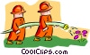 Vector Clipart graphic  of a firemen - cartoon