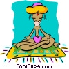 Eastern man meditating Vector Clipart illustration