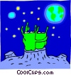 Vector Clip Art image  of an Aliens looking at earth