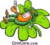 Leprechaun in clover smoking pipe Vector Clip Art graphic