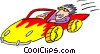 cartoon racecar Vector Clipart illustration