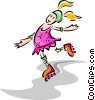 child roller blading Vector Clipart graphic