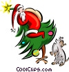 Vector Clip Art image  of a Christmas/Dog barking at Santa