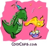 Vector Clipart graphic  of a birthday/dinosaur blowing out