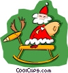Vector Clip Art image  of a Christmas/Santa on rocking