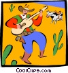 cowboy playing guitar Vector Clipart picture