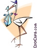 Stork with a baby boy Vector Clipart image