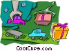 Vector Clip Art graphic  of a toy assembly line