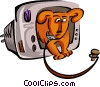 Vector Clipart image  of a dog with leash
