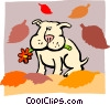 Vector Clip Art image  of a dog with autumn leaves