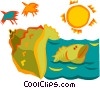 aquatic concept Vector Clipart illustration