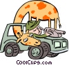 giraffe with safari man Vector Clip Art picture