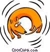 Vector Clip Art picture  of a dog chasing his tail