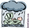 office worker in a storm Vector Clipart illustration