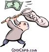 Vector Clipart graphic  of a office worker chasing dollars
